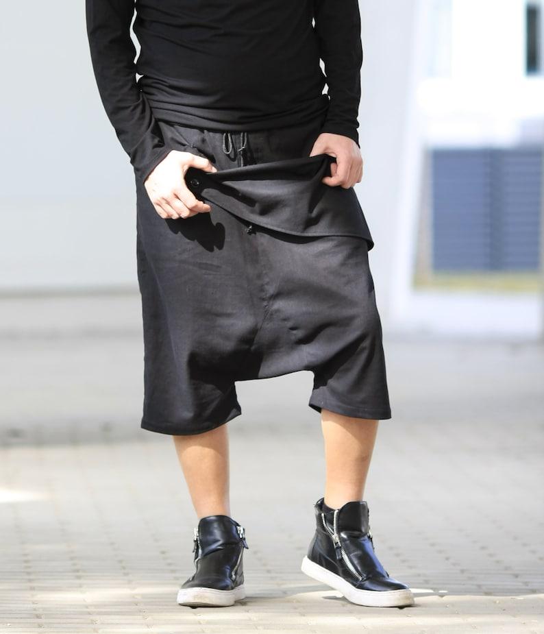 Pants men/ Linen Drop Crotch Capri shorts/ Harem shorts/ Linen image 0