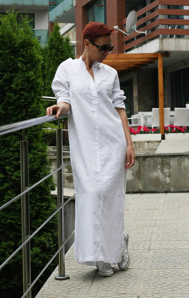 266121c12e Shirt Dress   Beach Shirt   Long Linen Shirt   Boho Maxi Dress
