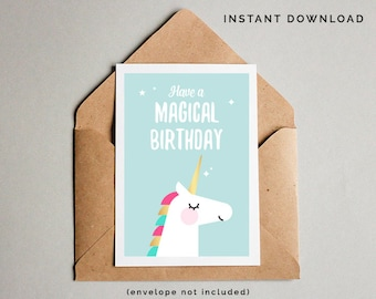 Unicorn Birthday Card Printable Girls Instant Download