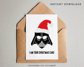 funny christmas card star wars christmas card darth vader card printable star wars christmas gift star wars printables instant download