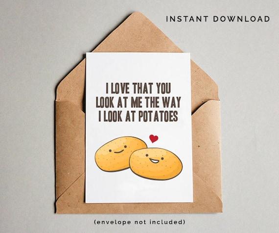 Anniversary Card Love You Potato Print Lover