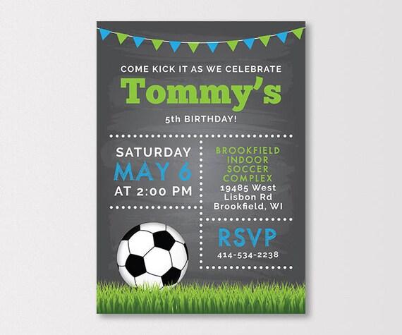 soccer birthday invitation soccer party invitation soccer etsy