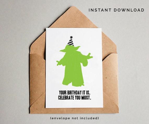 Yoda Birthday Card Star Wars Birthday Card Yoda Star Wars
