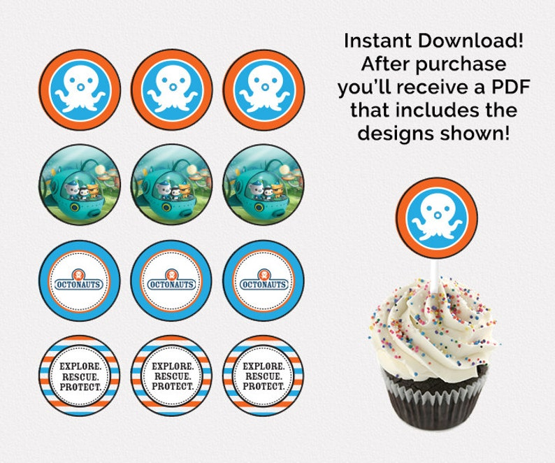 Octonauts Cupcake Toppers Birthday Party Labels