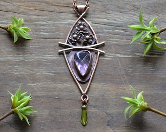 Copper amethyst pendant, spring, lilac, gemstone jewelry, everyday jewellery