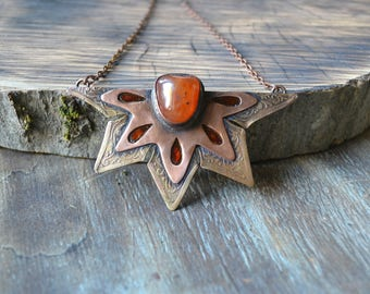 Carnelian ginger star, copper and brass pendant, Christmas gift