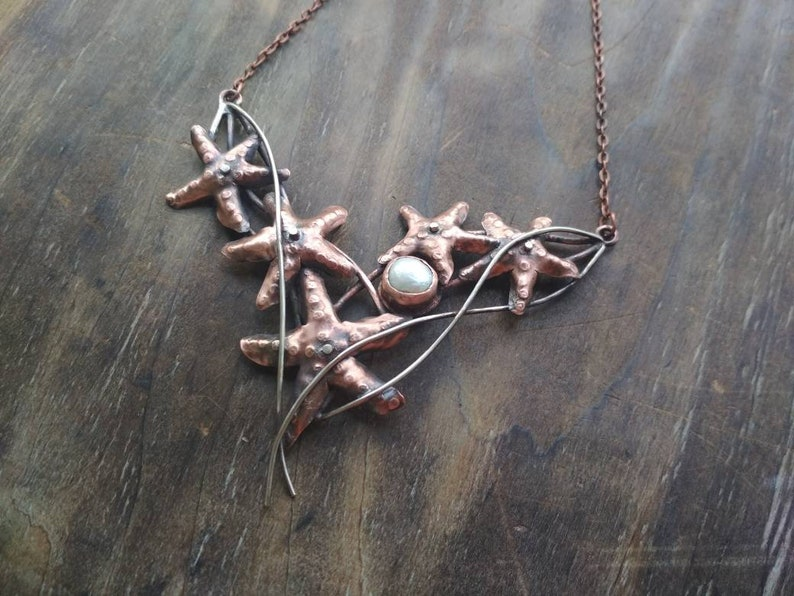 starfish Necklace made of copper and German silver sealover gift pearls