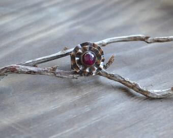 Delicate copper ring, flower, fuchsia