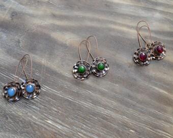 Delicate copper earrings, flower, blue, green, fuchsia