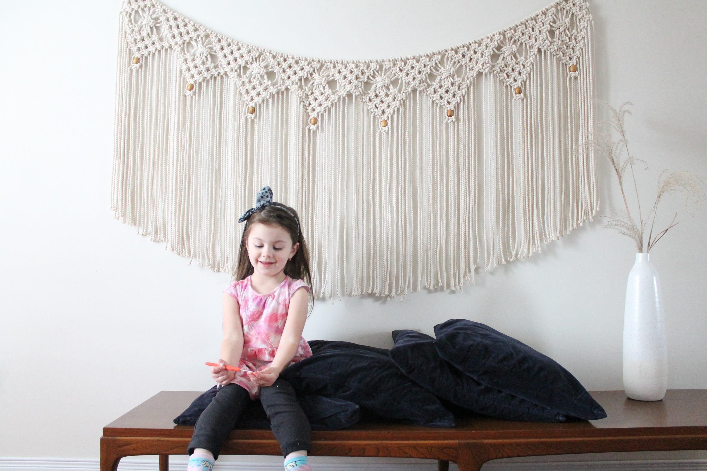 macram mural sur corde 6 pieds guirlande t te de lit etsy. Black Bedroom Furniture Sets. Home Design Ideas