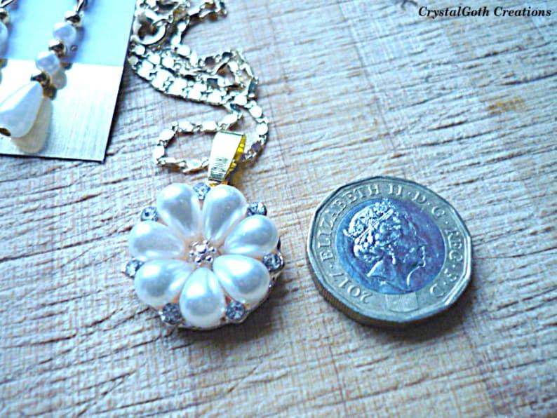 Pearl Teardrop Pendant on Button Link Chain plus Pearl Drop Earrings on a Crystal Stud