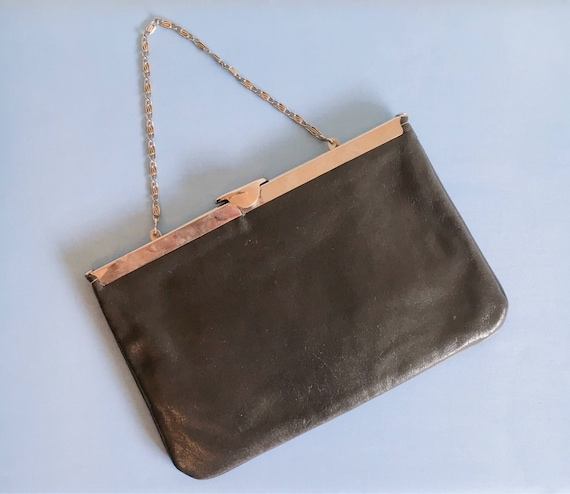 Vintage 1980s grey cluch bag // evening bag