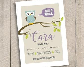 DIY Printable Owl themed Birthday Invitation