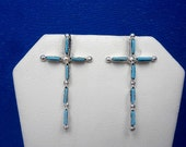 New Old Stock - Handcrafted Zuni Sterling Silver and Sleeping Beauty Needlepoint Turquoise Cross Post Earrings