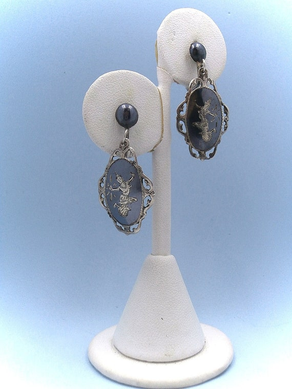 Mekkala Goddess of Lightning Earrings Sterling Silver Blue Enamel Earrings Blue Siam Earrings