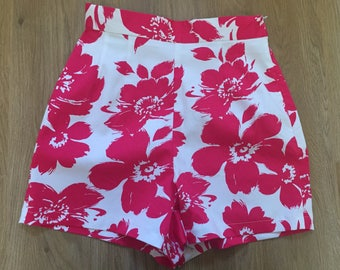 High waisted pink floral shorts