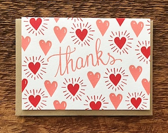 Thanks Hearts, Thank You Card, Letterpress Note Card, Blank Inside