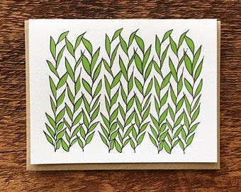 Green Leaves and Reeds, Letterpress Folded Note Card, Blank Inside