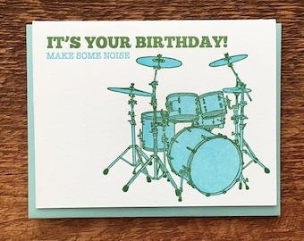 Make Some Noise Birthday Card, Kid's Birthday Card, Folded Letterpress Note Card, Blank Inside