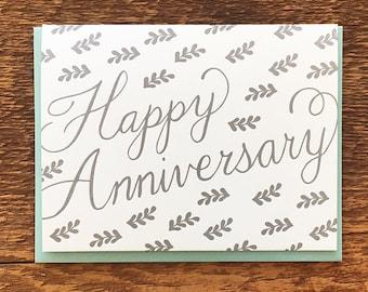 Happy Anniversary, Silver Branch Pattern, Letterpress Note Card, Blank Inside