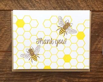 Honey Bee Thank You Card, Letterpress Greeting Card, Blank Inside