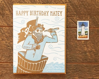 Happy Birthday Matey, Pirate Birthday Card, Kids Birthday Card, Letterpress Card