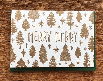 Merry Merry, Holiday Card, Letterpress Folded Note Card, Blank Inside