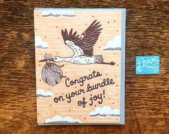 Congrats on Your Bundle of Joy, Stork Card, Baby Card, Letterpress Note Card, Blank Inside