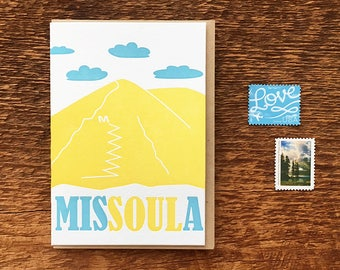 Missoula Montana Greeting Card, Missoula M Trail, University of Montana, Letterpress Note Card, Blank Inside