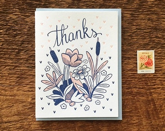 Thanks Flowers, Floral Thank You Card, Letterpress Note Card, Blank Inside