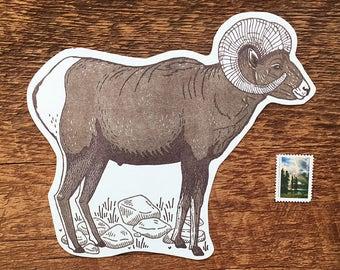 Bighorn Sheep Postcard, Bighorn Postcard, Rocky Mountain, Die Cut Letterpress Postcard