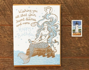 Happy Birthday Mermaid, Mermaid Birthday Card, Kids Birthday Card, Letterpress Card