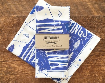 Indiana Tea Towel, Indiana State Tea Towel, Single Screen Printed Kitchen Towel