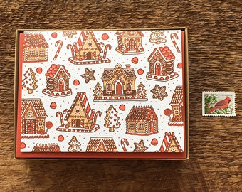 Gingerbread Houses Holiday Cards, Boxed Set of 8 Letterpress Holiday Cards, Christmas Cards