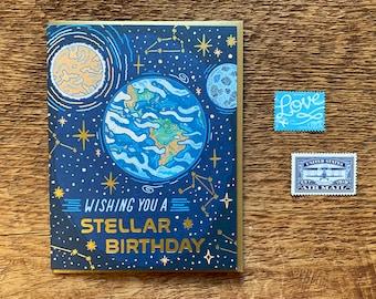 Stellar Birthday Card, Space Birthday Card, Foil Printed Card, Blank Inside