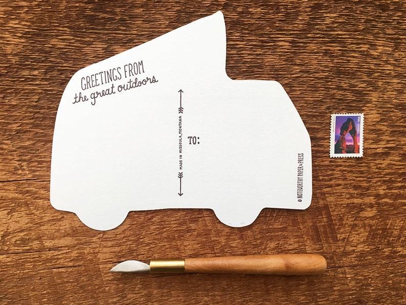 Camper Van Postcard Orange Camper Bus Postcard Die Cut Letterpress Postcard
