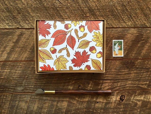 Fall Leaves, Boxed Set of 8 Letterpress Folded Note Cards, Blank Inside