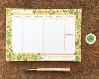 Get 'Er Done, Desert Pattern Weekly Desk Planner, 9.75 x 6.75 To Do List Pad