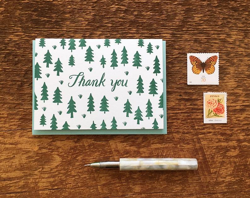 Letterpress Folded Note Card Blank Inside Pine Tree Pattern Thank You Card