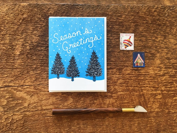 Blank Inside Thank You Pine Branches Letterpress Folded Note Card Holiday Thank You