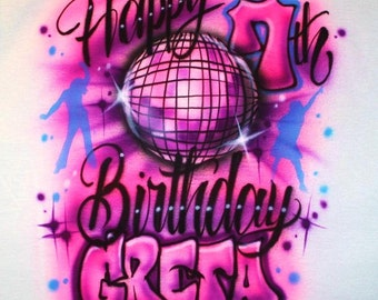 Airbrushed Girls Boys Rock Star Dance Birthday Party T SHIRT Personalized Rocker