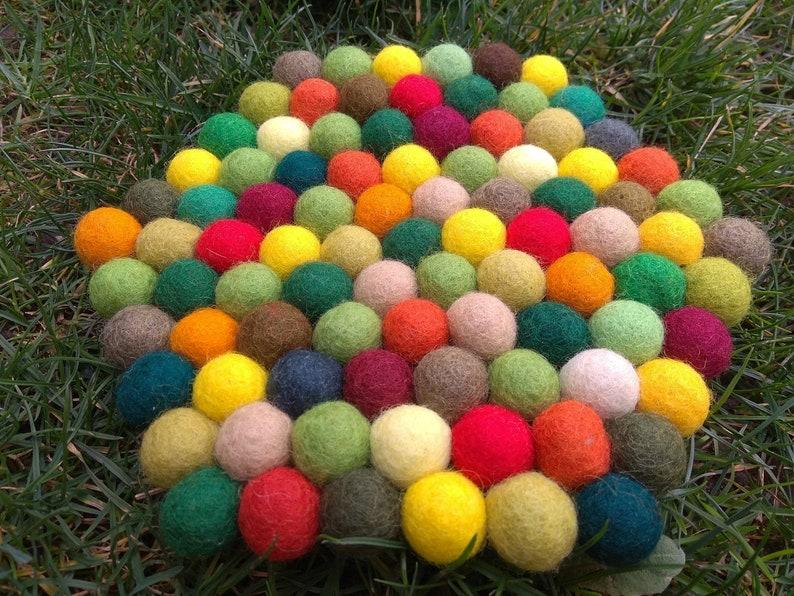 handmade autumn colors Candle Mat or Trivet Wool Set of 2 Felt Ball Coasters app.1,5 cm wool beads hexagon design