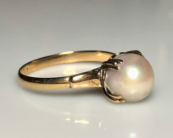 Antique Pearl Wedding Ring in 14k Yellow Gold Edwardian style