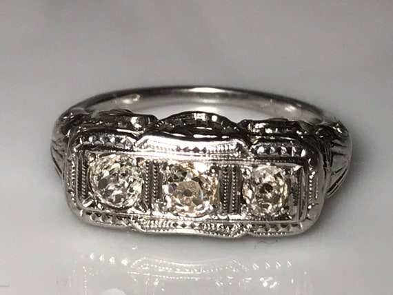 Art Deco Platinum Mine Cut Diamond Ring circa 1920