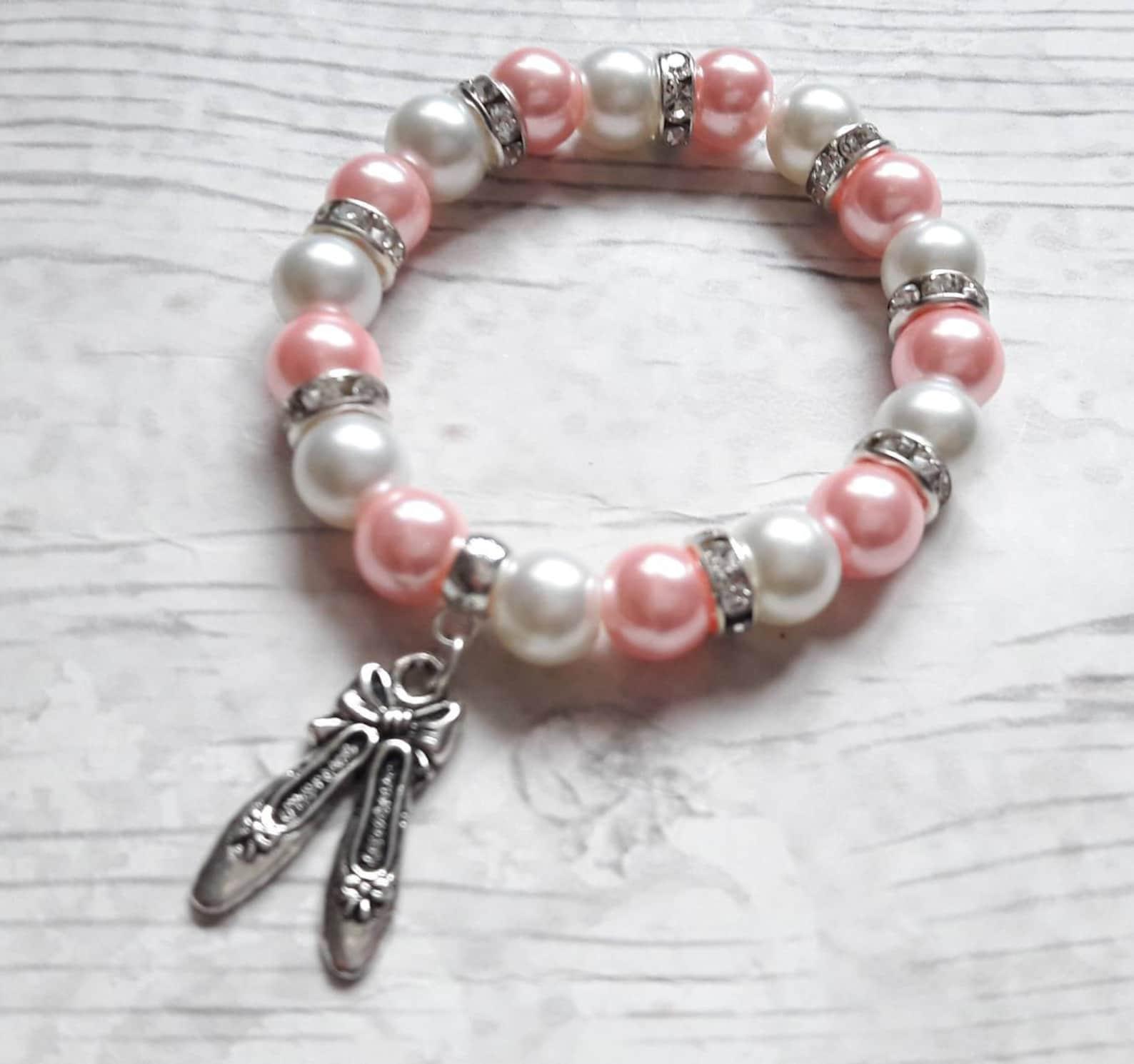 ballet shoe bracelet, ballerina jewellery, dance jewelry, ballet present, gift for girls, friendship bracelet, charm beaded brac