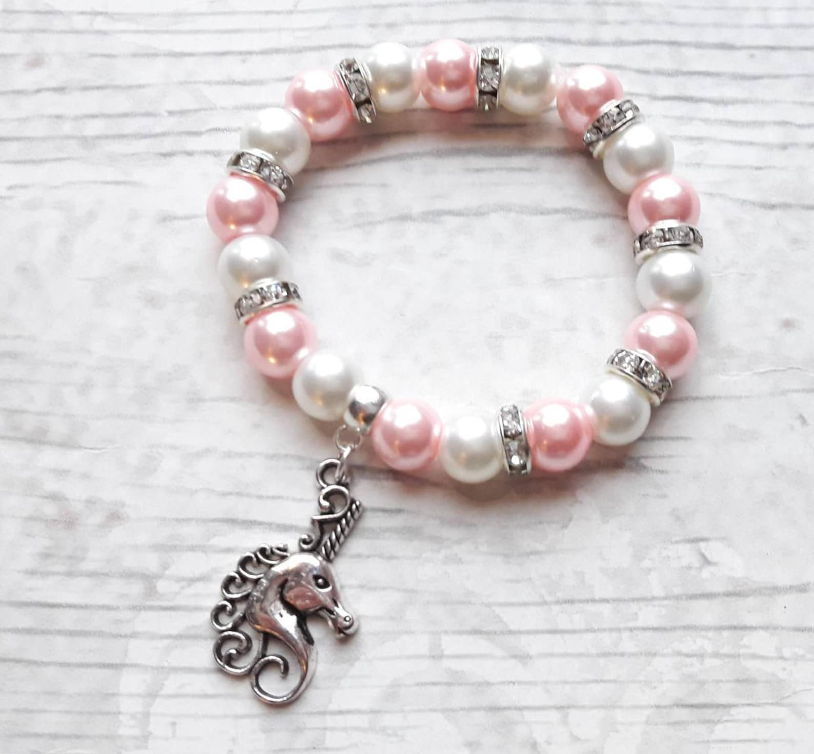 unicorn bracelet, fairytale jewellery, fantasy jewelry, ballet present, gift for girls, friendship bracelet, charm beaded bracel