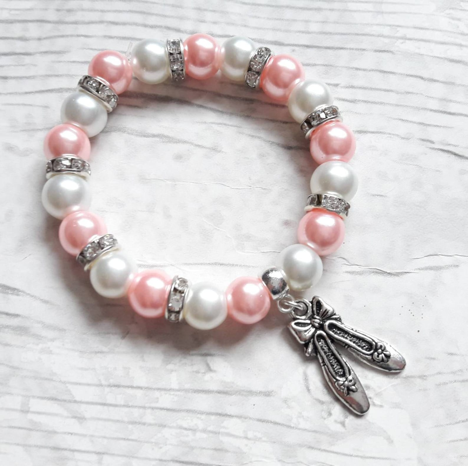 ballet shoe bracelet, ballerina jewellery, dance jewelry, ballet present, gift for girls, friendship bracelet, charm beaded brac