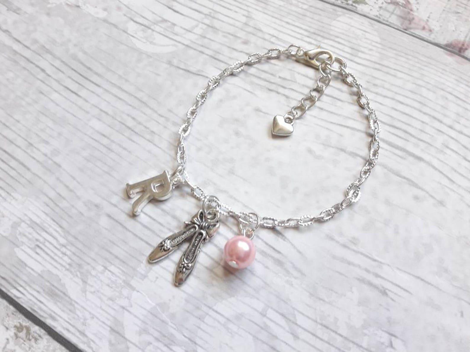 ballet shoe bracelet, ballerina slipper jewellery, dance jewelry, personalised present, initial bracelet, dancer present, gifts