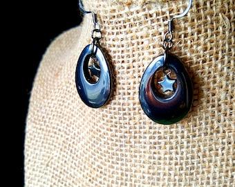 Hematite Loop and Star Dangle Earrings