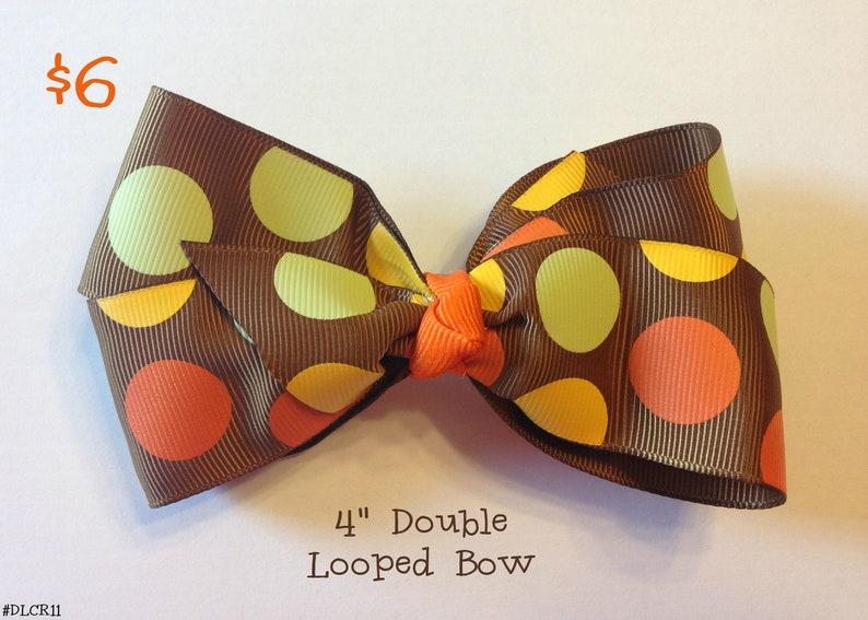 Polkadot Fall Double Looped Hair Bow
